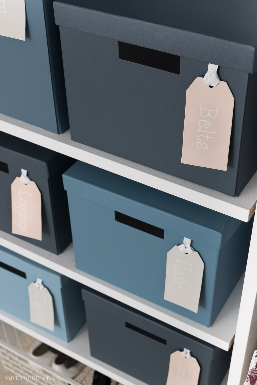 Boxes are painted in different Behr Marquee blues - love these paint colors!