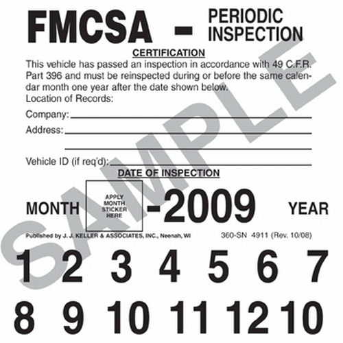 FMCSA Periodic Inspection Label Vinyl with Permanent