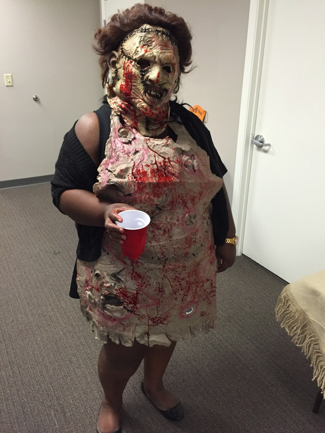 Dorothy scares Driver's Alert employees with this shocking display of gore.