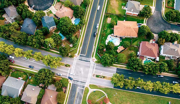 Suburban Intersection Aerial