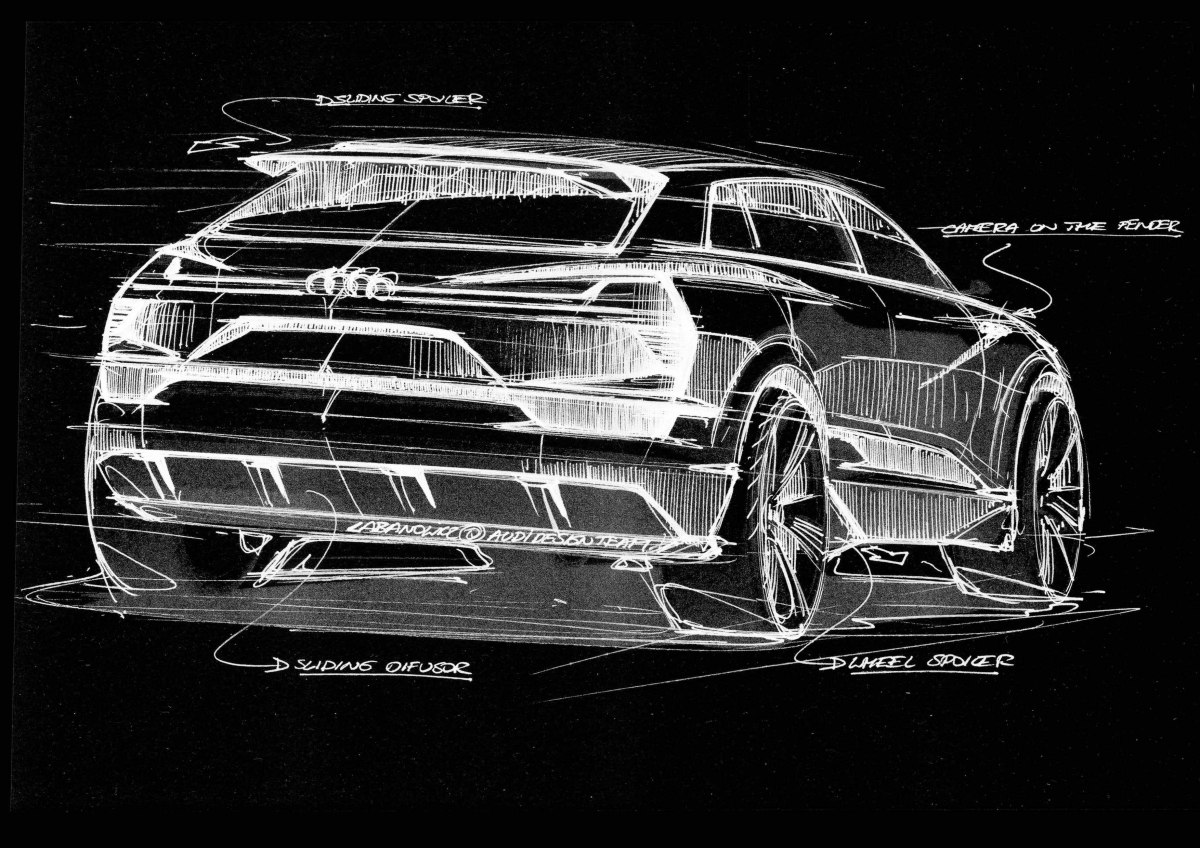 The cabin of the Audi e-tron quattro concept tapers strongly toward the rear end, approaching the idealized shape of an aerodynamically optimized droplet.