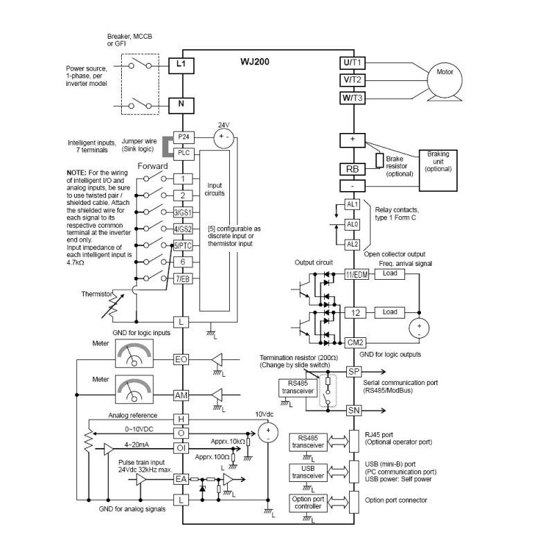 WJ200-007MF 1 HP 115V Single Phase Input 230V 3 Phase