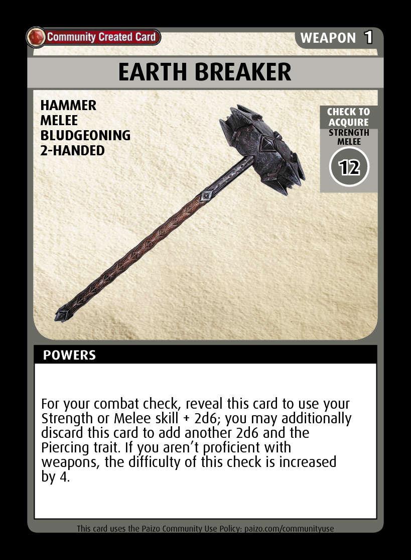Earth Breaker Custom Card Paizo Pathfinder Adventure Card Game Community Cards