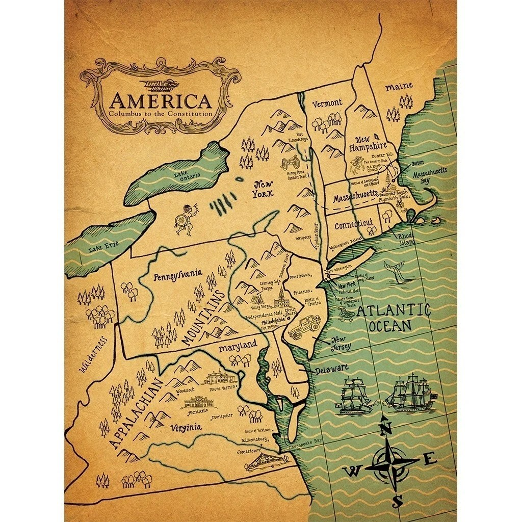 Map Of America History.Colonial America Map Drive Thru History