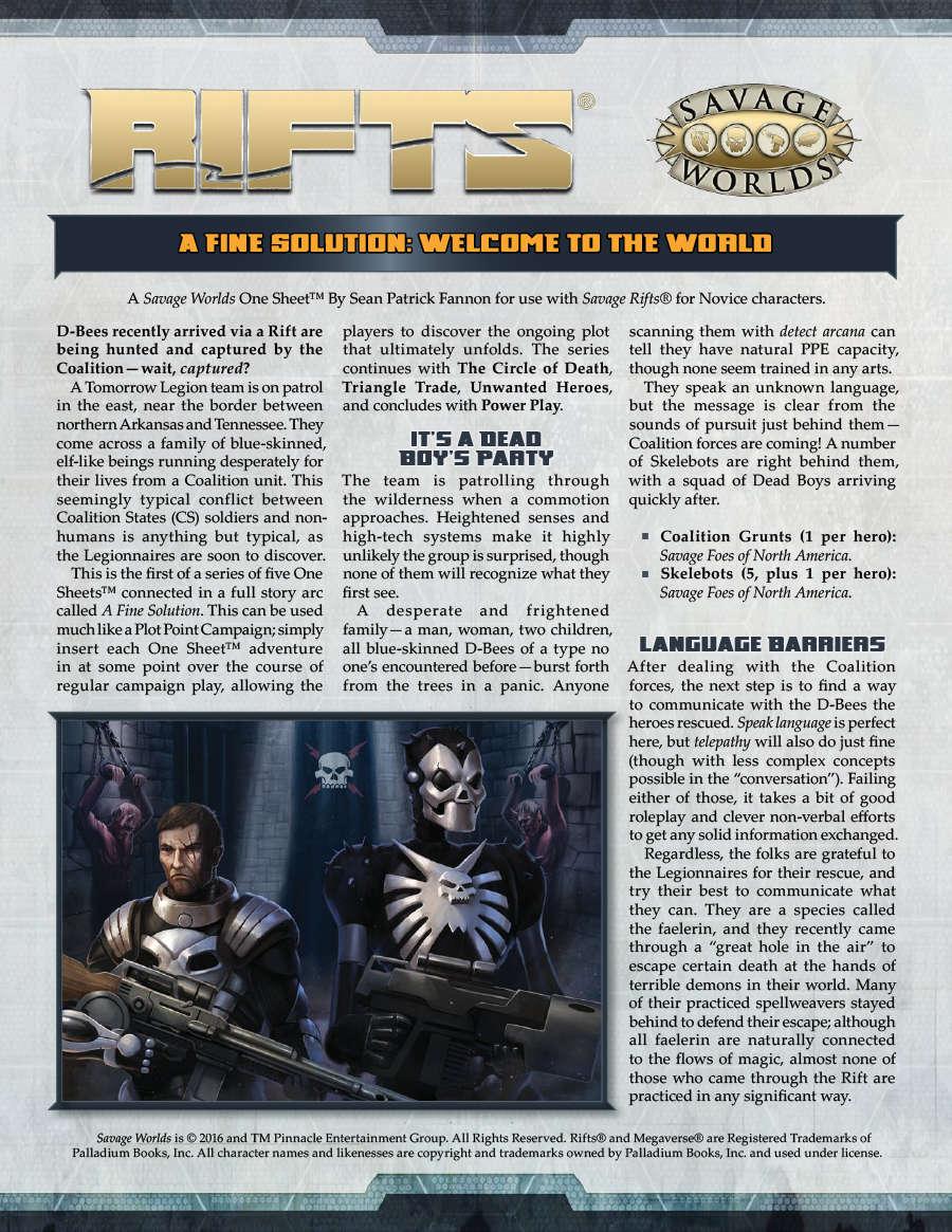 Rifts Game Master Sheet