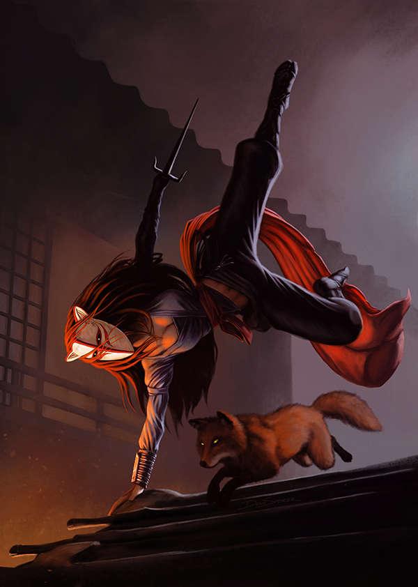 Ninja Fantasy Girl Wallpaper Cover Full Page Kitsune Rpg Stock Art Dean Spencer