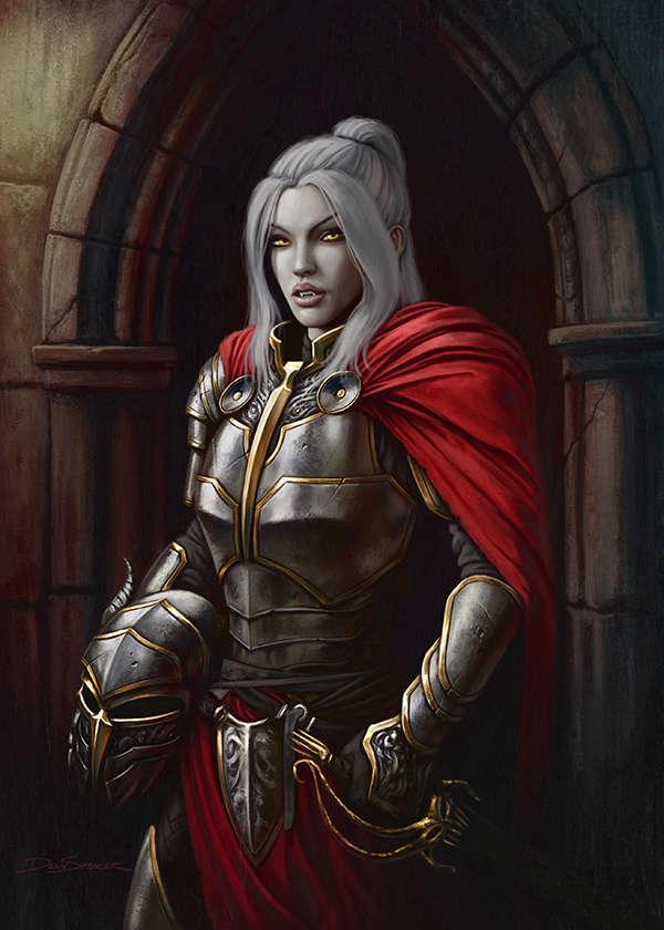 Cover Full Page Female Knight Vampire RPG Stock Art