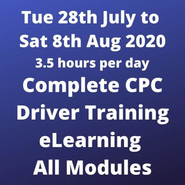 Driver CPC Modules 1 to 8 Online 28 July to 8 Aug 2020