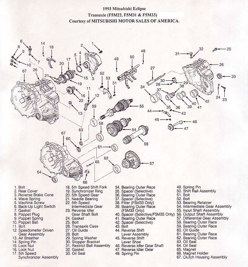 Mitsubishi F5M22, F5M31, FM533 Transmission illustrated