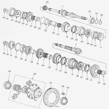 Honda A2Q6 Transmission illustrated parts drawings