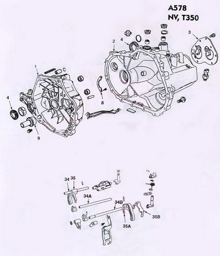 Chrysler Dodge A578 Manual Transmission illustrated parts