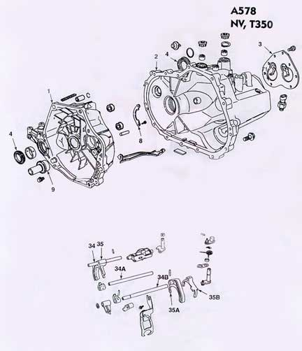 Chrysler Dodge A578 Manual Transmission illustrated parts