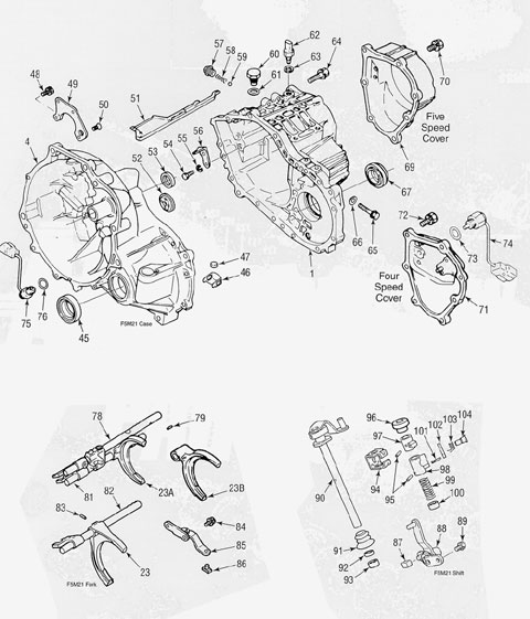 Mitsubishi F5M21 Transmission illustrated parts drawings