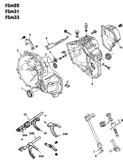 Hyundai F5M22 Transmission illustrated parts drawings