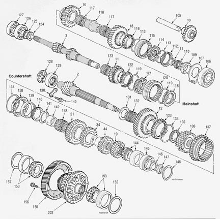 Honda H2 D2 Transmission illustrated parts drawings