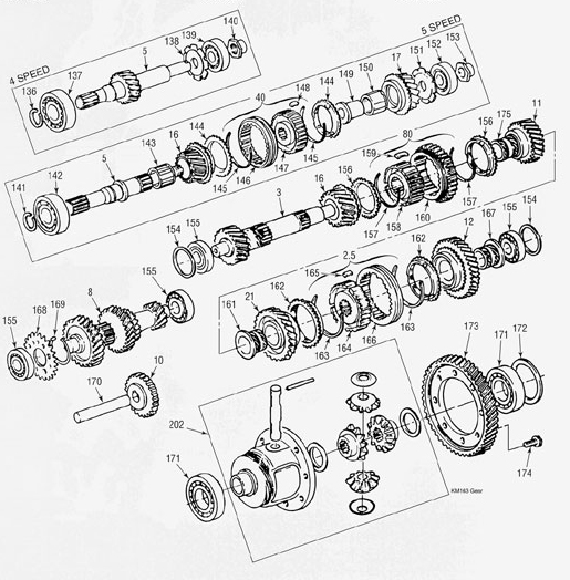 Mitsubishi KM163 Transmission illustrated parts drawings