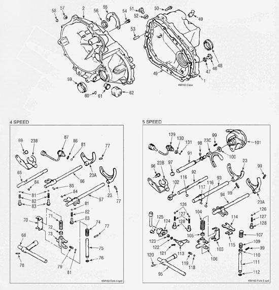 Mitsubishi KM163 Transmission illustrated parts drawings