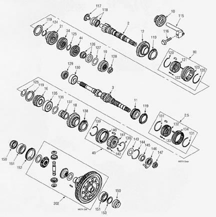 Mazda M5TX Transmission illustrated parts drawings