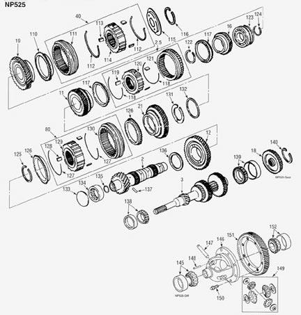 Chrysler Dodge NP525 Transmission illustrated parts