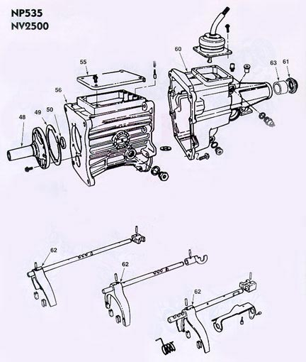 Chrysler Dodge NP535 Manual Transmission illustrated parts