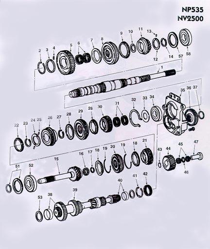 Chrysler Dodge NP535 Manual Transmission illustrated parts