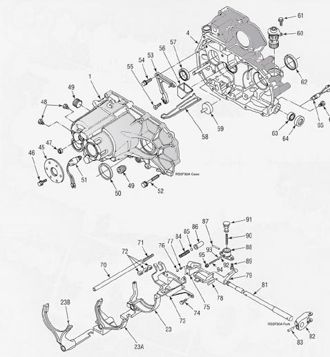Nissan RS5F30A Transmission illustrated parts drawings