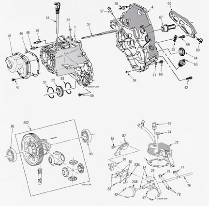 Saturn Manual Transmission illustrated parts drawings