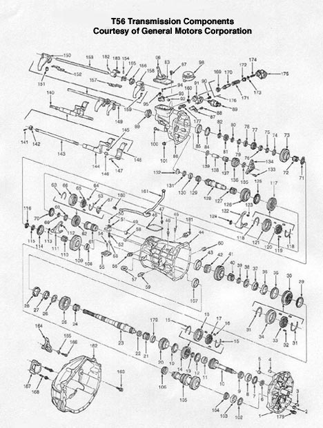 T56 Manual Transmission illustrated parts drawings