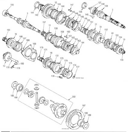 Toyota C51 Transmission illustrated parts drawings