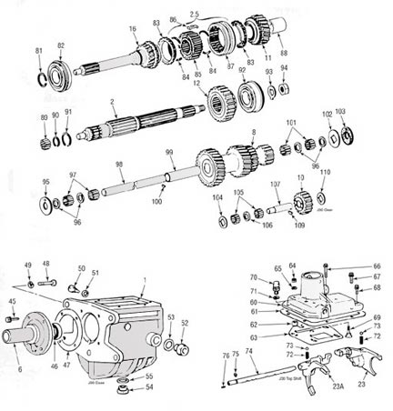 Toyota J30 Transmission illustrated parts drawing assiting