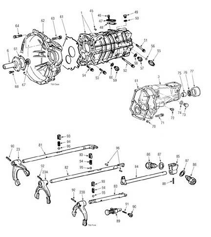 Toyota T50 Transmission illustrated parts drawings