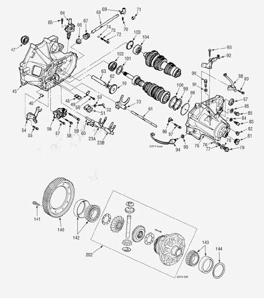 Acura G3T4 Manual Transmission illustrated parts drawings