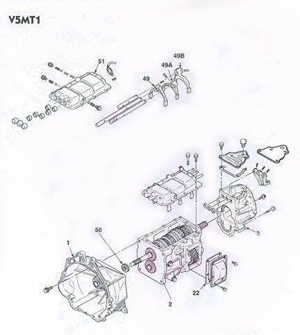 Mitsubishi V5MT1 Transmission illustrated parts drawings