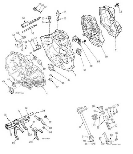 Mitsubishi W5M31 Transmission illustrated parts drawings