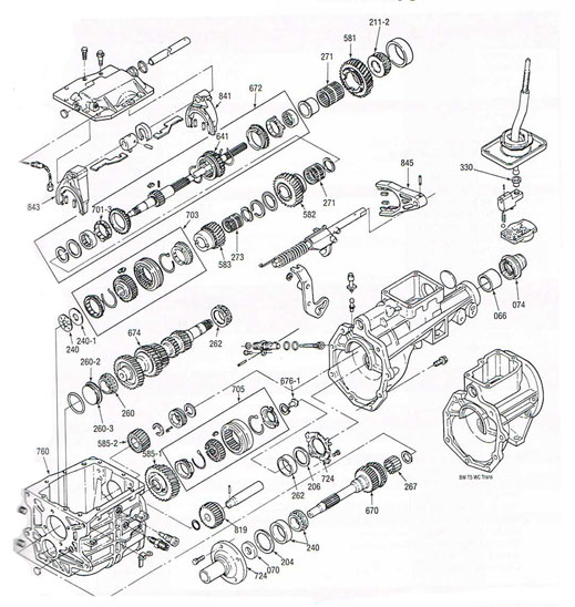 T4 and T5 manual transmission illustrated parts drawings