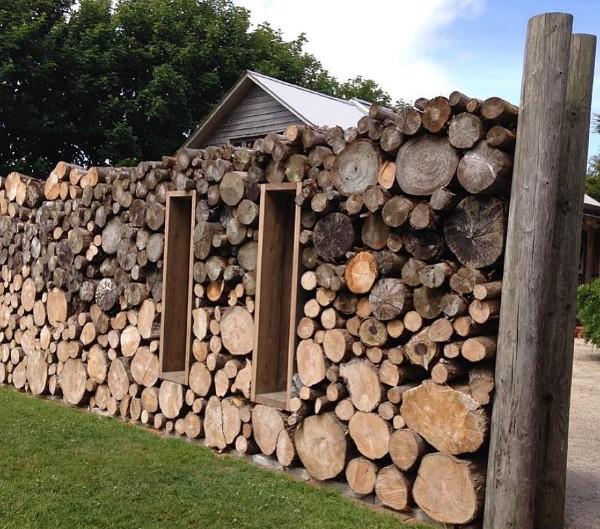 Log Pile Garden Wall