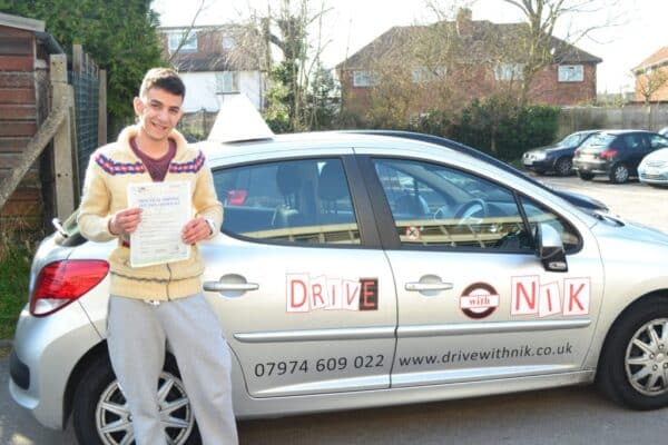 Mario passed his driving test first time