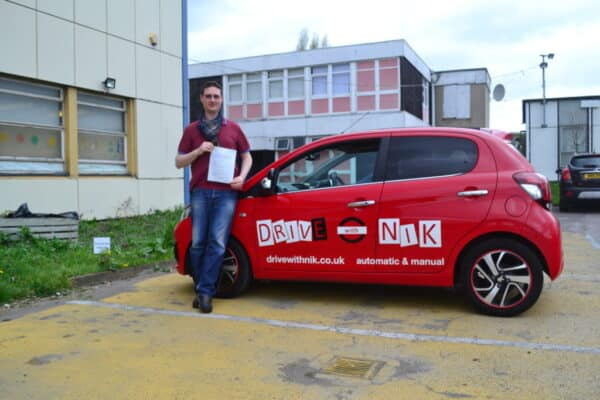 Manual driving lessons Tottenham Oisin passed his practical driving test first time with Drive with Nik