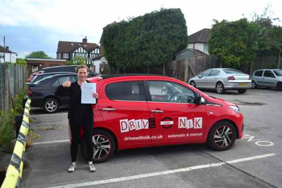 Manual Driving Lessons Muswell Hill. Aislinn passed her driving test first time with Drive with Nik.
