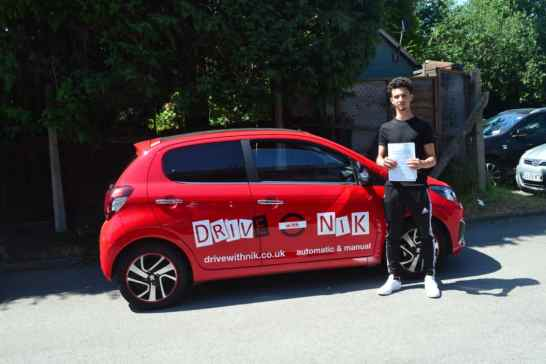 Manual Driving Lessons East Barnet. Luke passed his practical driving test with Drive with Nik.
