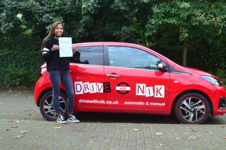 Driving Lessons Finchley. Tanya passed her practical driving test first time.