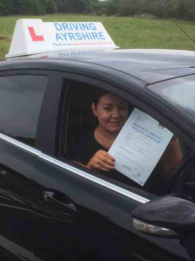 driving schools Troon = first time pass Sarah Hughes