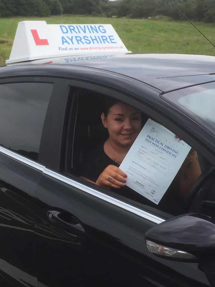driving schools Troon - first time pass Sarah Hughes