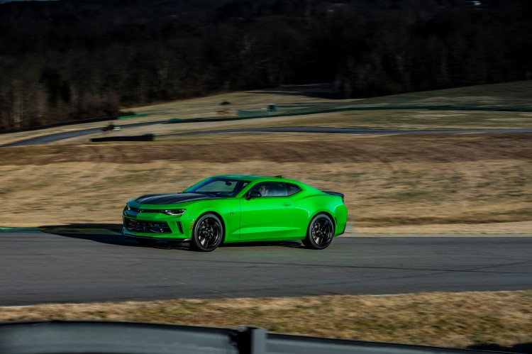 For the first time, the 2017 1LE performance package will be available on Camaro 1LT or 2LT coupes equipped with the 3.6L V6. Featuring more aggressive suspension tuning, standard Brembo brakes and Goodyear Eagle F1 tires, the LT 1LE delivers an estimated 0.97G in cornering grip. (Vehicle shown with optional black Chevrolet bowtie accessory and concept color.)