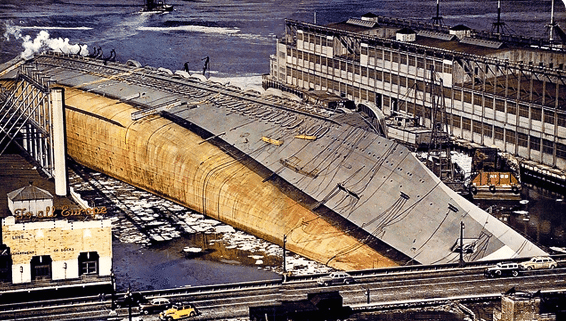 The salvage operation to right the U.S.S. Lafayette,