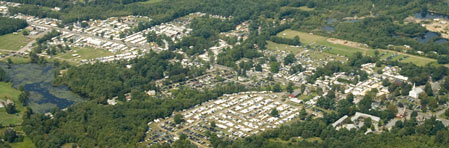 An aerial photo of the Brimfield Antique Show and Flea Market.
