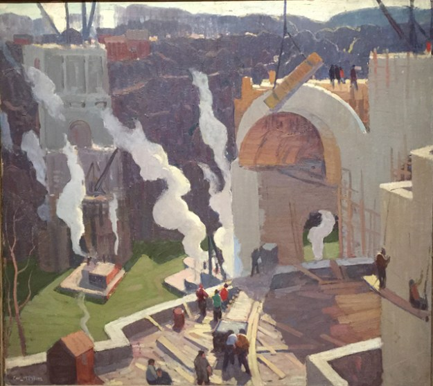 Memorial Bridge (1930). Peters painting of the construction of the Veterans' Memorial Bridge across the Genesee River.