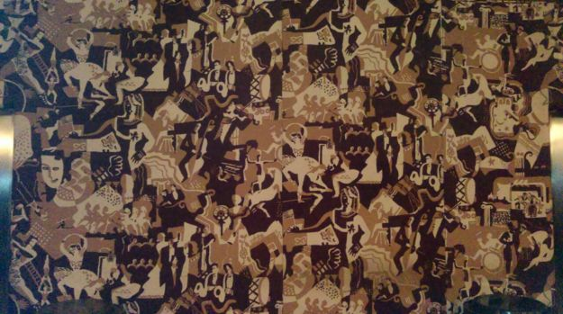 Ruth Reeves' History of the Theatre fabric wall covering.