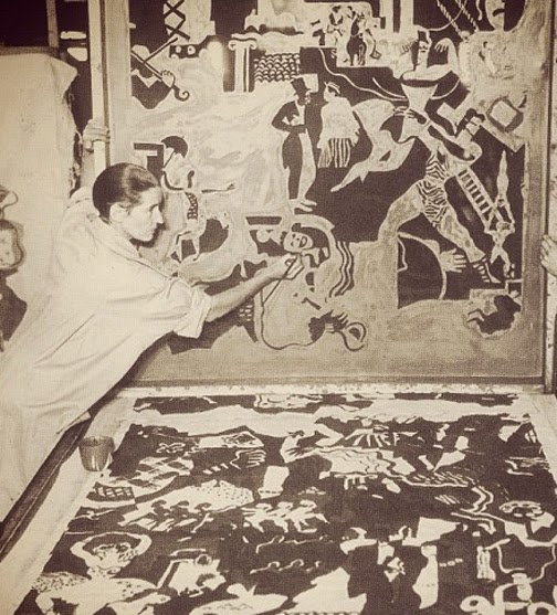 """Ruth Reeves (1892-1966) painting """"The History of Theatre"""" fabric wall covering."""