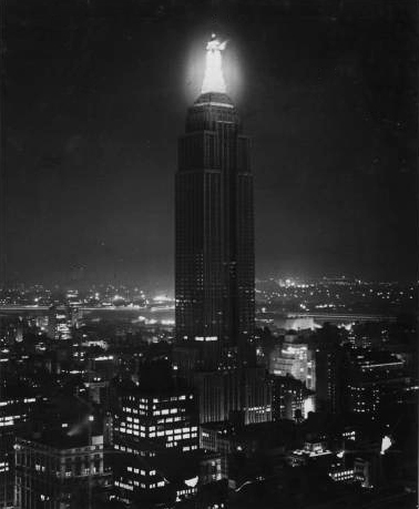Empire State Building at night, circa 1934. NYPL Digital Gallery